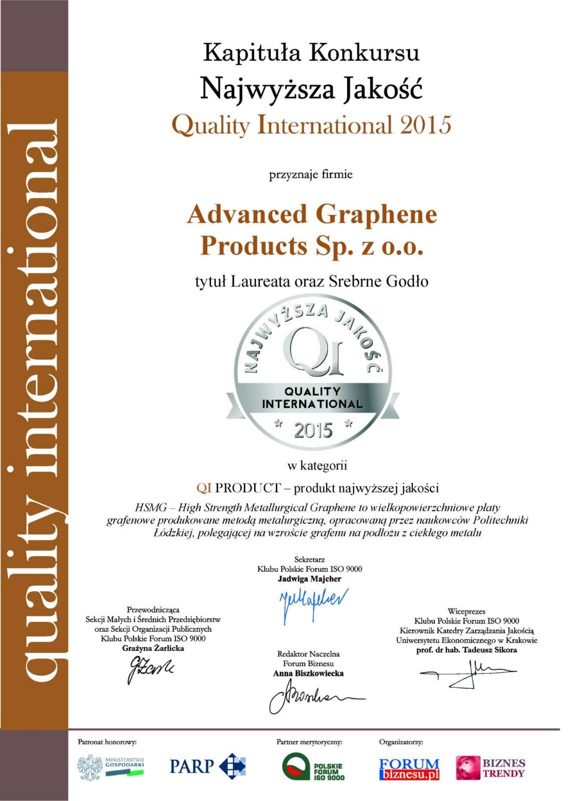 QI2015 Certificate